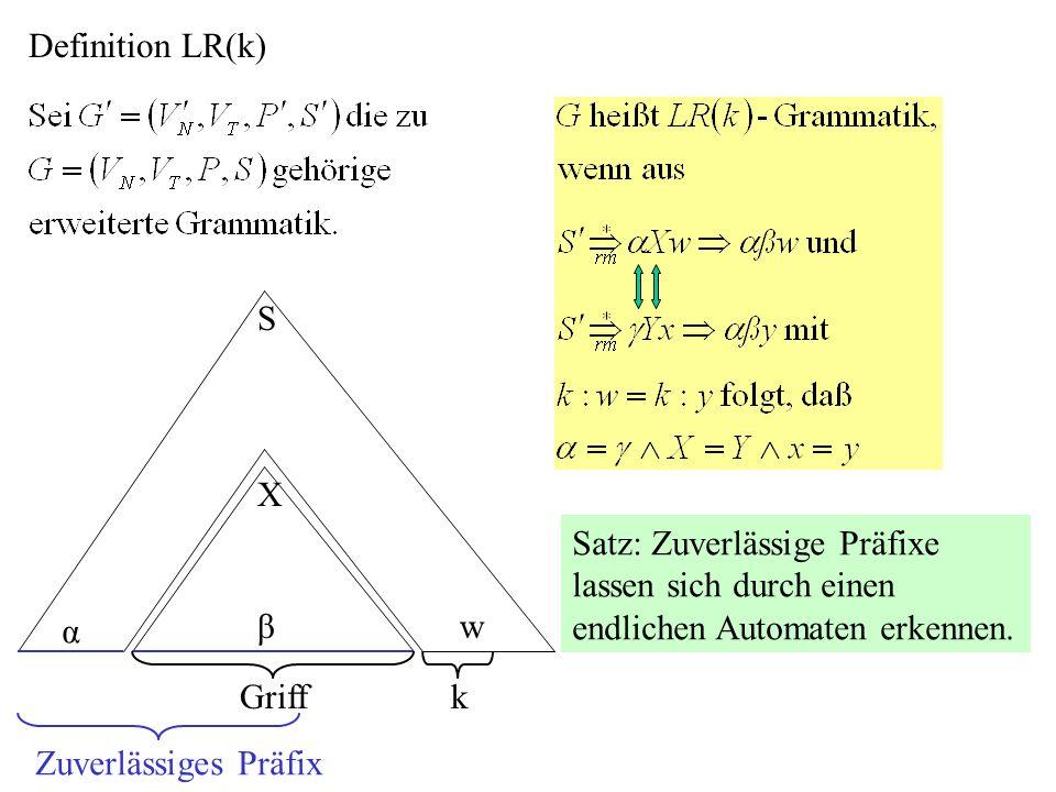 Definition LR(k) S X α βw kGriff Zuverlässiges Präfix Satz: Zuverlässige Präfixe lassen sich durch einen endlichen Automaten erkennen.