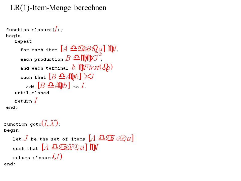 LR(1)-Item-Menge berechnen