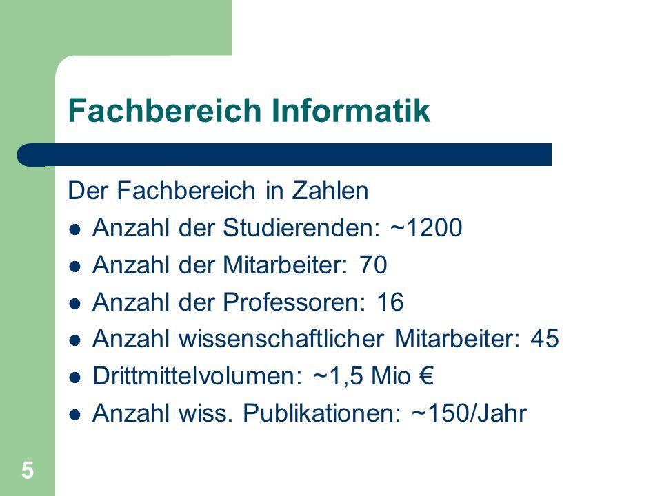 5 Fachbereich Informatik Der Fachbereich in Zahlen Anzahl der Studierenden: ~1200 Anzahl der Mitarbeiter: 70 Anzahl der Professoren: 16 Anzahl wissenschaftlicher Mitarbeiter: 45 Drittmittelvolumen: ~1,5 Mio Anzahl wiss.