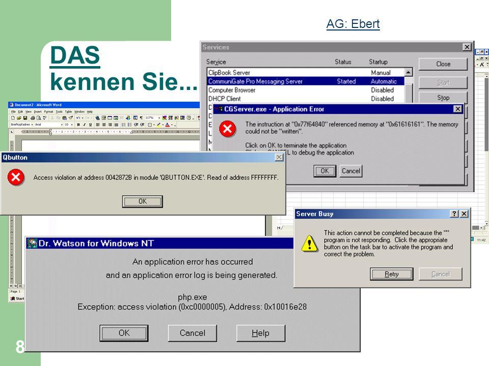 9 GUPRO Programmverstehen Quellcode-Analyse unabhängig von der Programmiersprache Software-Zertifizierung Labor-Demo: B 115 AG: Ebert