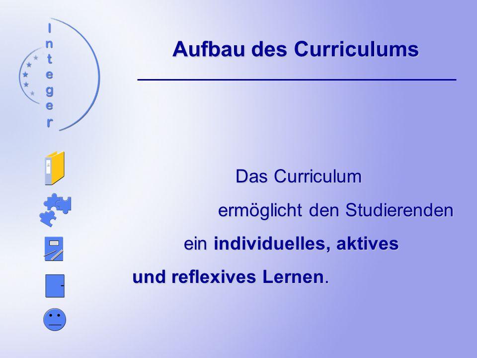 Aufbau des Curriculums Das Curriculum ermöglicht den Studierenden ein individuelles, aktives und reflexives Lernen.