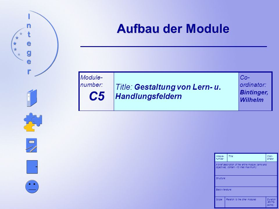 Aufbau der Module Module- number: Title:Coor- dinator A brief description of the entire module (aims and objectives, contain -10 lines maximum): Structure: Basic-literature: Scope:Relation to the other modulesDuration (ECTS- points): Module- number: C5 Title: Gestaltung von Lern- u.