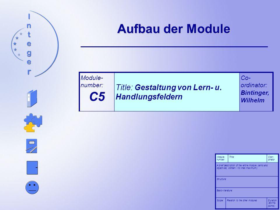 Aufbau der Module A brief description of the entire module (aims and objectives, contain - 10 lines maximum): In diesem Modul werden die Studierenden mit dem Begriff Lern- und Handlungsfeld vertraut gemacht.