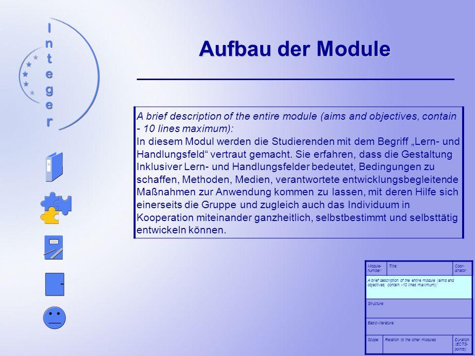 Aufbau der Module A brief description of the entire module (aims and objectives, contain - 10 lines maximum): In diesem Modul werden die Studierenden
