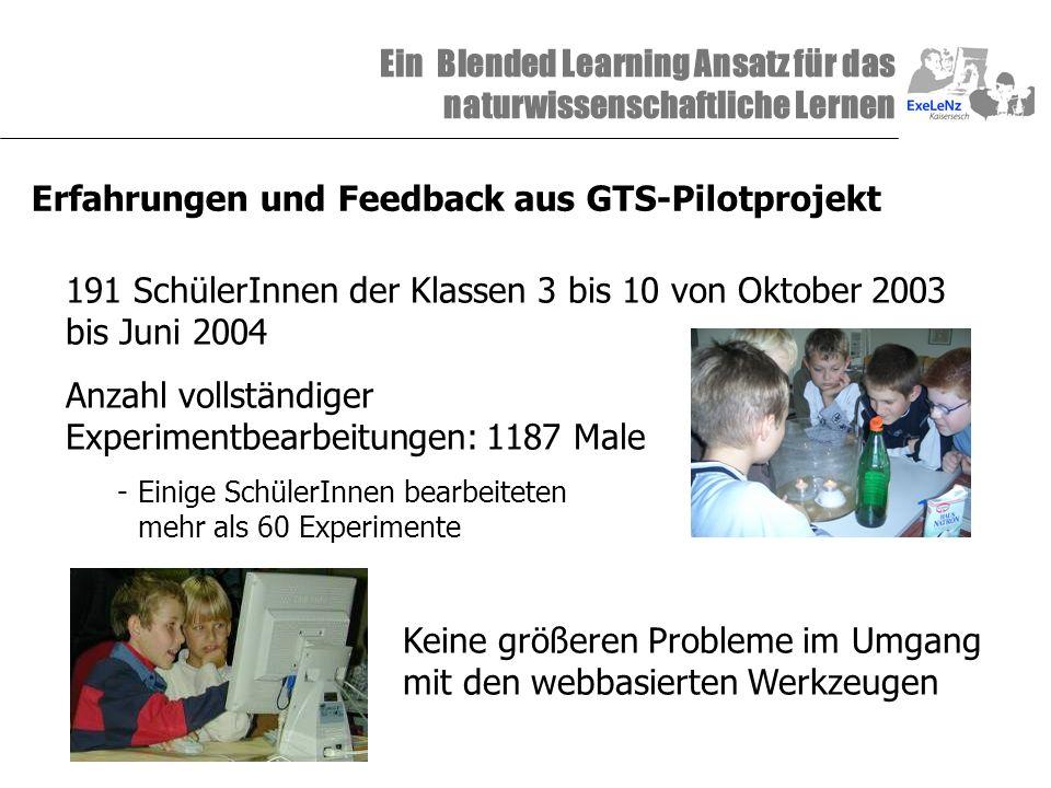 Ein Blended Learning Ansatz für das naturwissenschaftliche Lernen Erfahrungen und Feedback aus GTS-Pilotprojekt 191 SchülerInnen der Klassen 3 bis 10