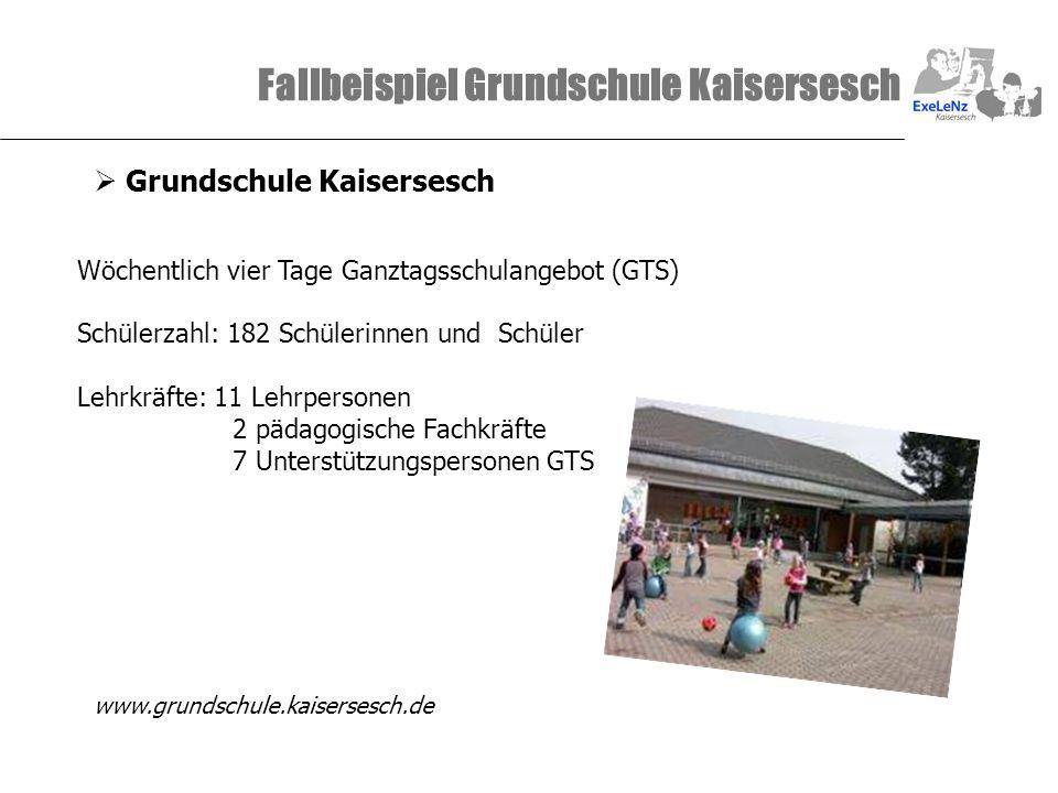 Fallbeispiel Grundschule Kaisersesch Wöchentlich vier Tage Ganztagsschulangebot (GTS) Schülerzahl: 182 Schülerinnen und Schüler Lehrkräfte: 11 Lehrper