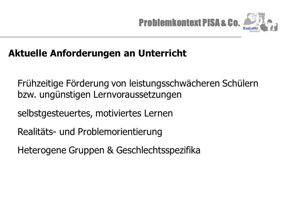 Problemkontext PISA & Co. Aktuelle Anforderungen an Unterricht Frühzeitige Förderung von leistungsschwächeren Schülern bzw. ungünstigen Lernvoraussetz