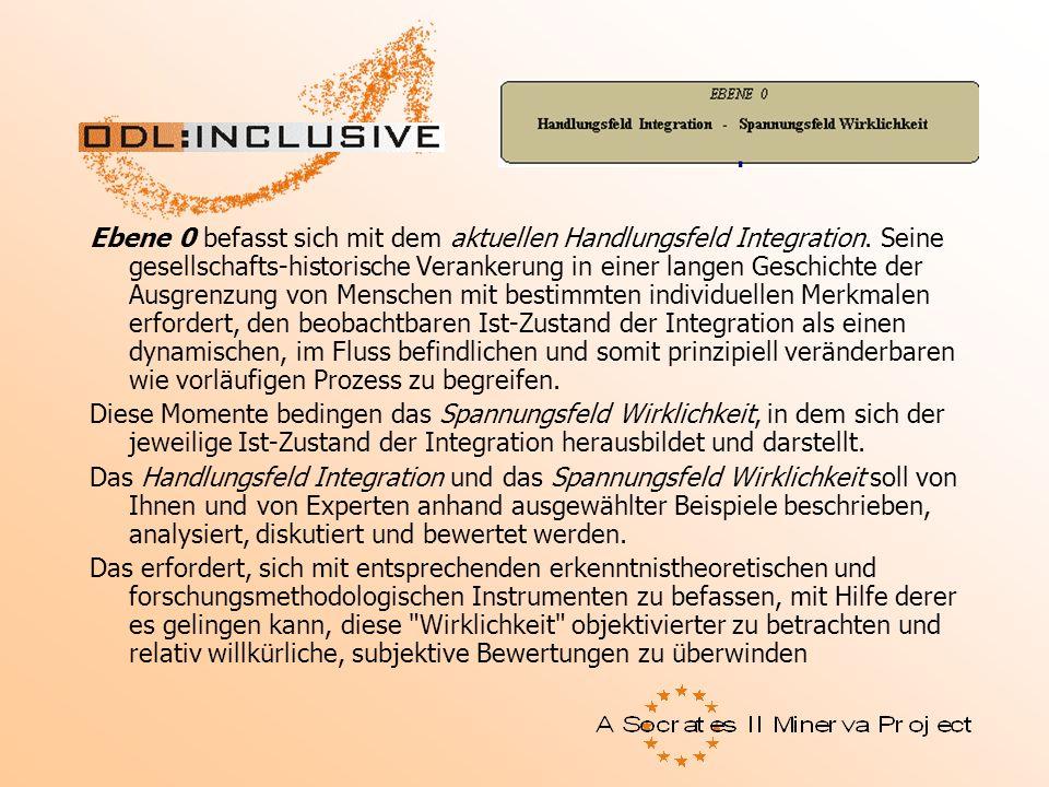 Ebene 0 befasst sich mit dem aktuellen Handlungsfeld Integration. Seine gesellschafts-historische Verankerung in einer langen Geschichte der Ausgrenzu
