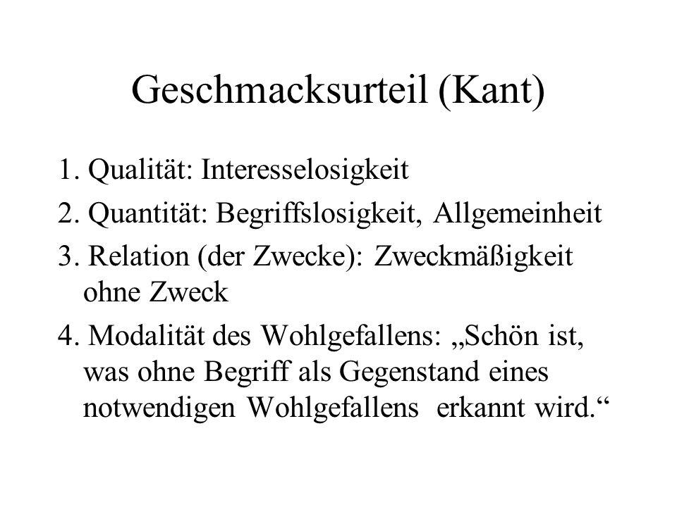 Geschmacksurteil (Kant) 1.Qualität: Interesselosigkeit 2.