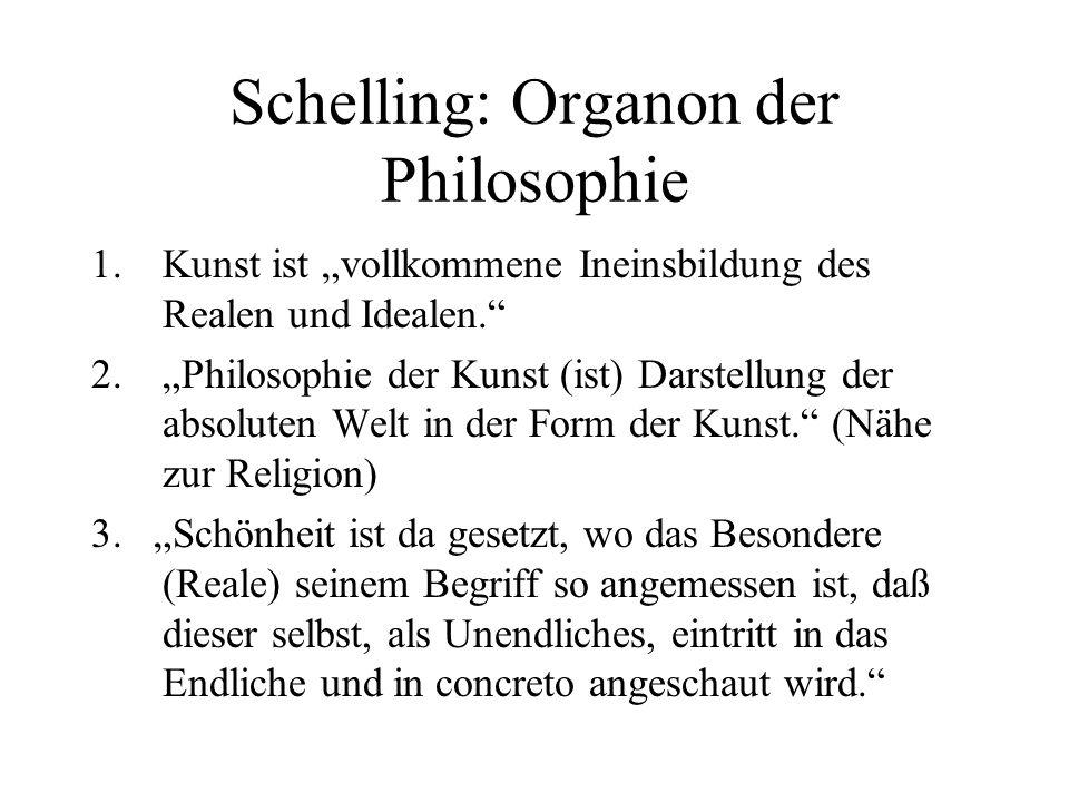 Schelling: Organon der Philosophie 1.Kunst ist vollkommene Ineinsbildung des Realen und Idealen.