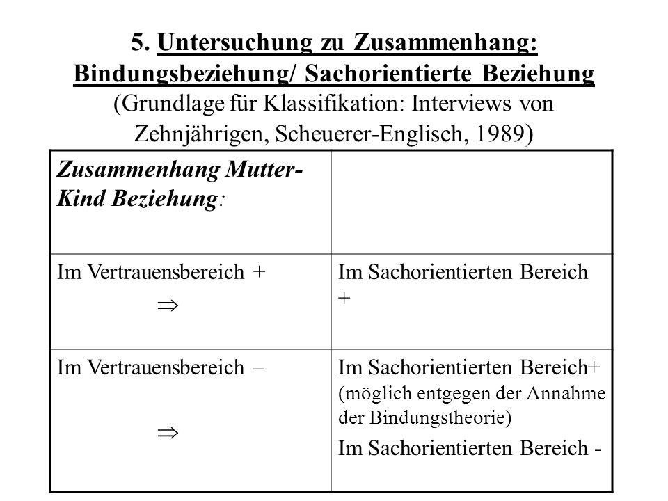 5. Untersuchung zu Zusammenhang: Bindungsbeziehung/ Sachorientierte Beziehung (Grundlage für Klassifikation: Interviews von Zehnjährigen, Scheuerer-En