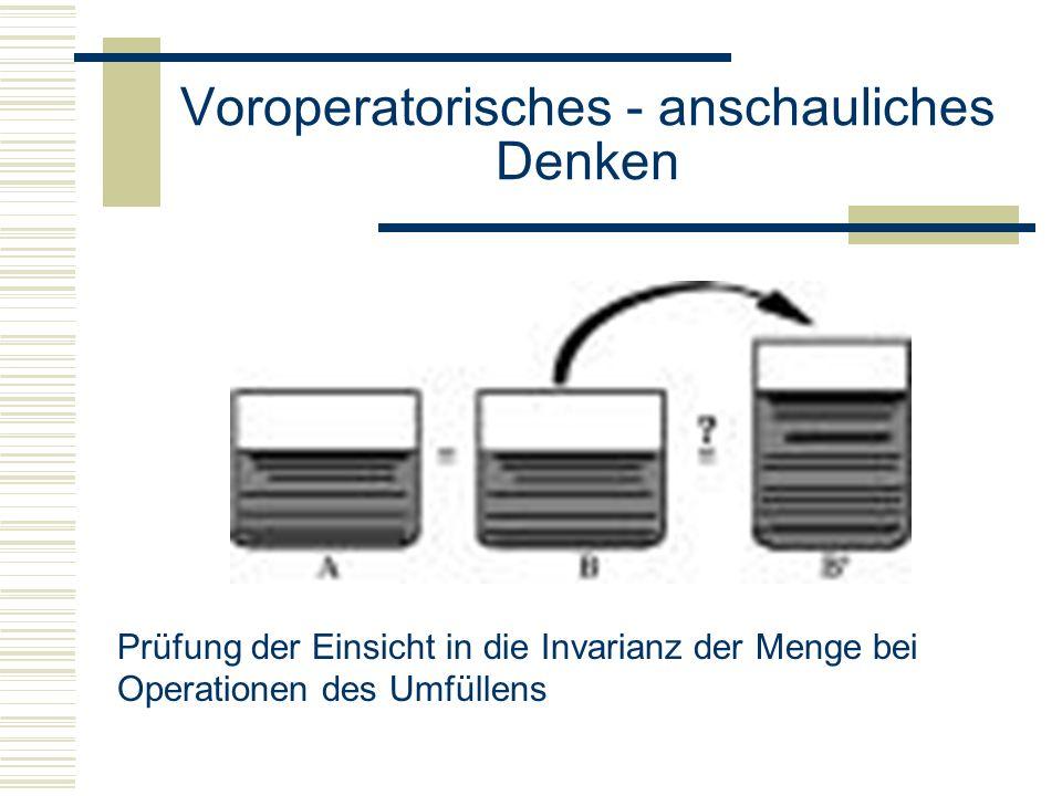 Voroperatorisches - anschauliches Denken Prüfung der Einsicht in die Invarianz der Menge bei Operationen des Umfüllens