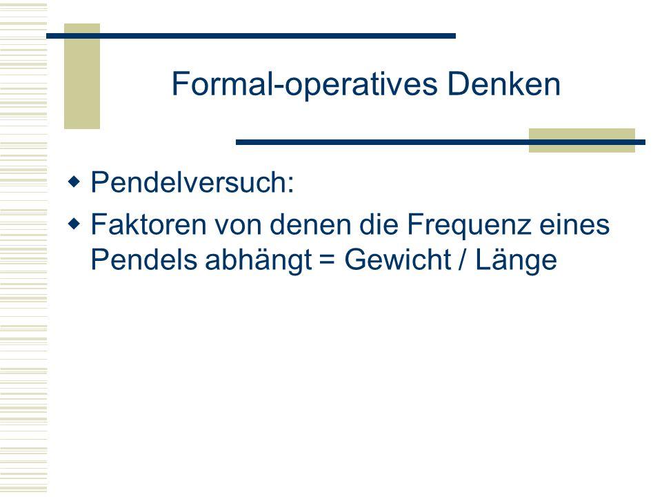 Formal-operatives Denken Pendelversuch: Faktoren von denen die Frequenz eines Pendels abhängt = Gewicht / Länge