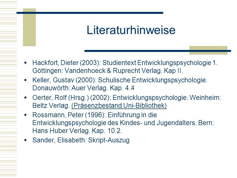 Literaturhinweise Hackfort, Dieter (2003): Studientext Entwicklungspsychologie 1. Göttingen: Vandenhoeck & Ruprecht Verlag. Kap II. Keller, Gustav (20