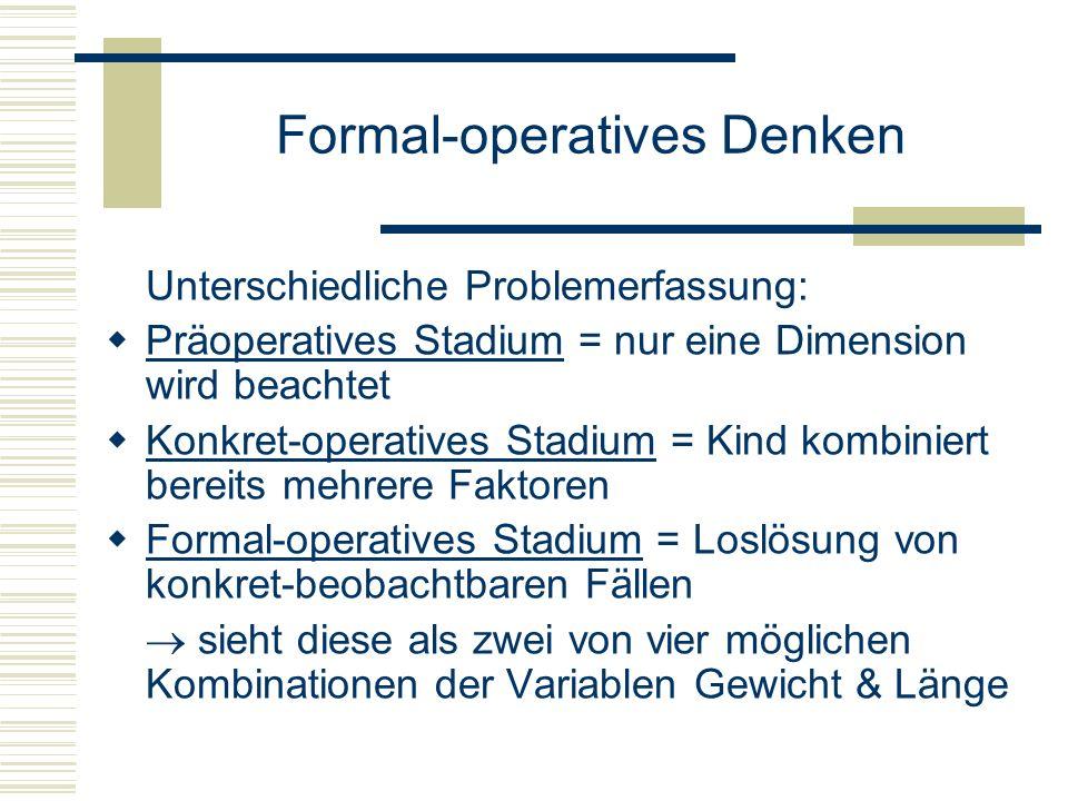 Formal-operatives Denken Unterschiedliche Problemerfassung: Präoperatives Stadium = nur eine Dimension wird beachtet Konkret-operatives Stadium = Kind