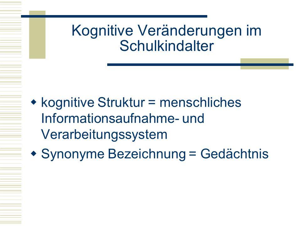 Kognitive Veränderungen im Schulkindalter kognitive Struktur = menschliches Informationsaufnahme- und Verarbeitungssystem Synonyme Bezeichnung = Gedäc