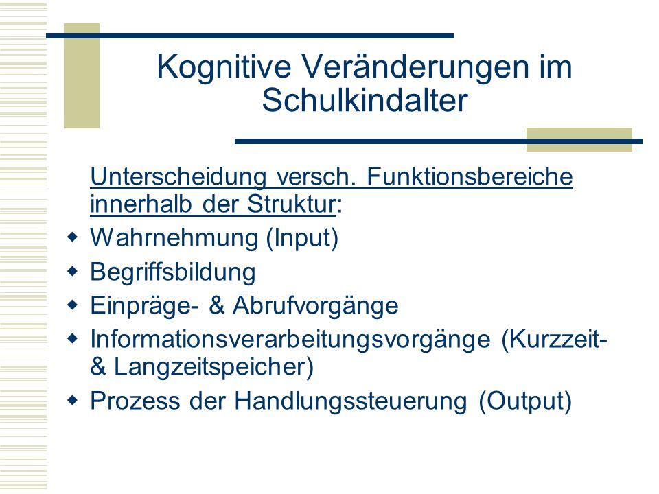 Kognitive Veränderungen im Schulkindalter Unterscheidung versch. Funktionsbereiche innerhalb der Struktur: Wahrnehmung (Input) Begriffsbildung Einpräg
