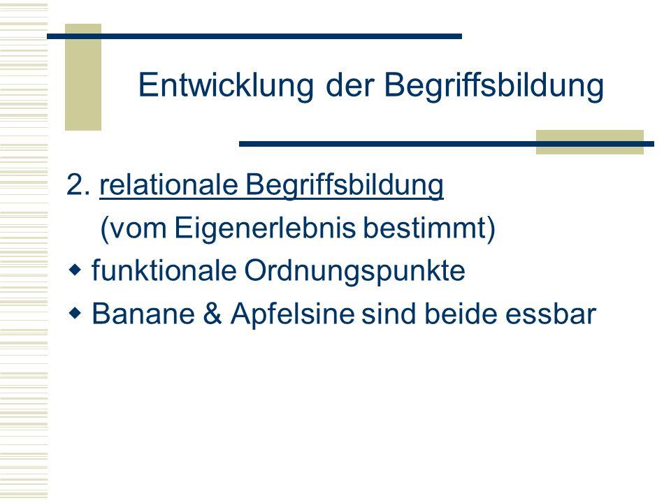Entwicklung der Begriffsbildung 2. relationale Begriffsbildung (vom Eigenerlebnis bestimmt) funktionale Ordnungspunkte Banane & Apfelsine sind beide e