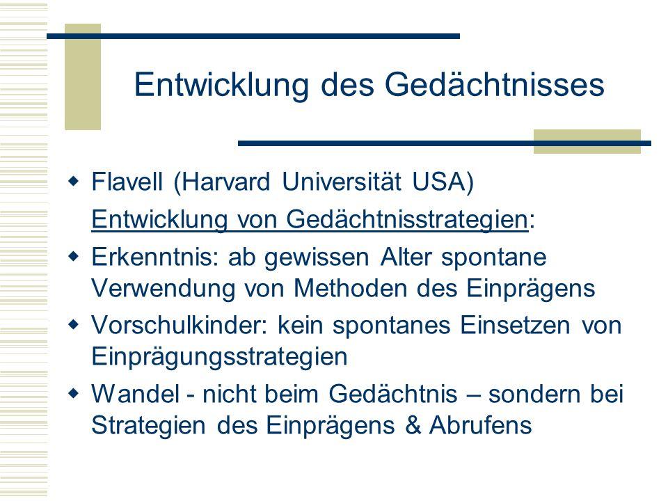 Entwicklung des Gedächtnisses Flavell (Harvard Universität USA) Entwicklung von Gedächtnisstrategien: Erkenntnis: ab gewissen Alter spontane Verwendun