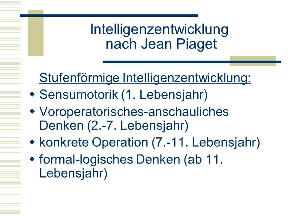 Stufenförmige Intelligenzentwicklung: Sensumotorik (1. Lebensjahr) Voroperatorisches-anschauliches Denken (2.-7. Lebensjahr) konkrete Operation (7.-11