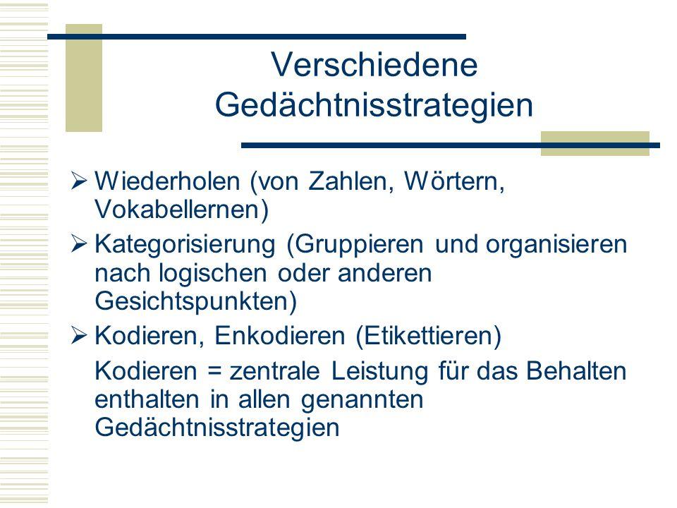 Verschiedene Gedächtnisstrategien Wiederholen (von Zahlen, Wörtern, Vokabellernen) Kategorisierung (Gruppieren und organisieren nach logischen oder an