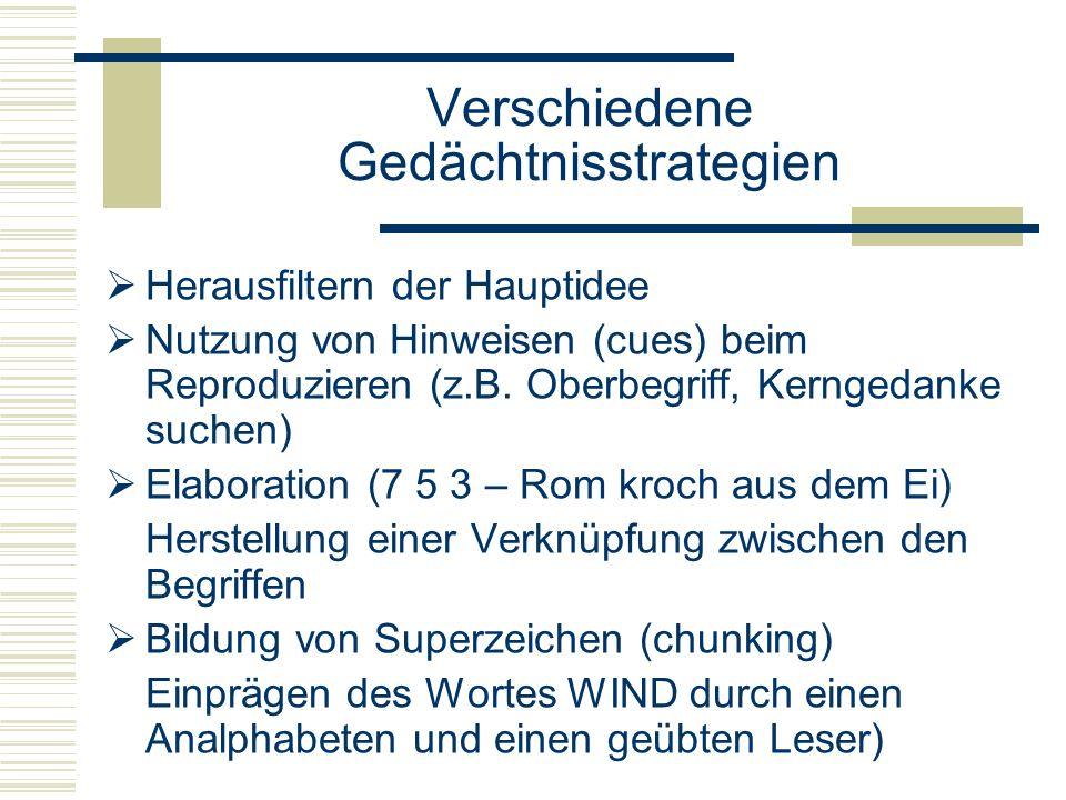 Verschiedene Gedächtnisstrategien Herausfiltern der Hauptidee Nutzung von Hinweisen (cues) beim Reproduzieren (z.B. Oberbegriff, Kerngedanke suchen) E