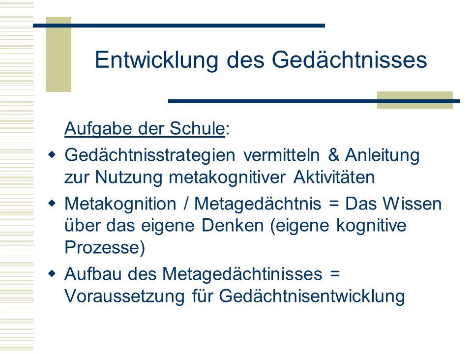 Entwicklung des Gedächtnisses Aufgabe der Schule: Gedächtnisstrategien vermitteln & Anleitung zur Nutzung metakognitiver Aktivitäten Metakognition / M