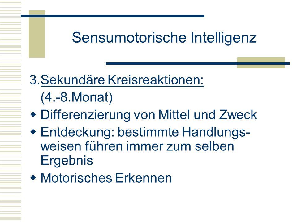 Sensumotorische Intelligenz 3.Sekundäre Kreisreaktionen: (4.-8.Monat) Differenzierung von Mittel und Zweck Entdeckung: bestimmte Handlungs- weisen füh