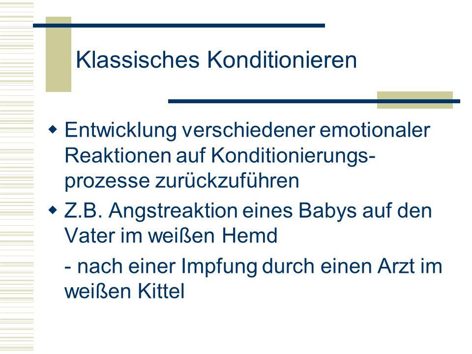 Klassisches Konditionieren Entwicklung verschiedener emotionaler Reaktionen auf Konditionierungs- prozesse zurückzuführen Z.B. Angstreaktion eines Bab