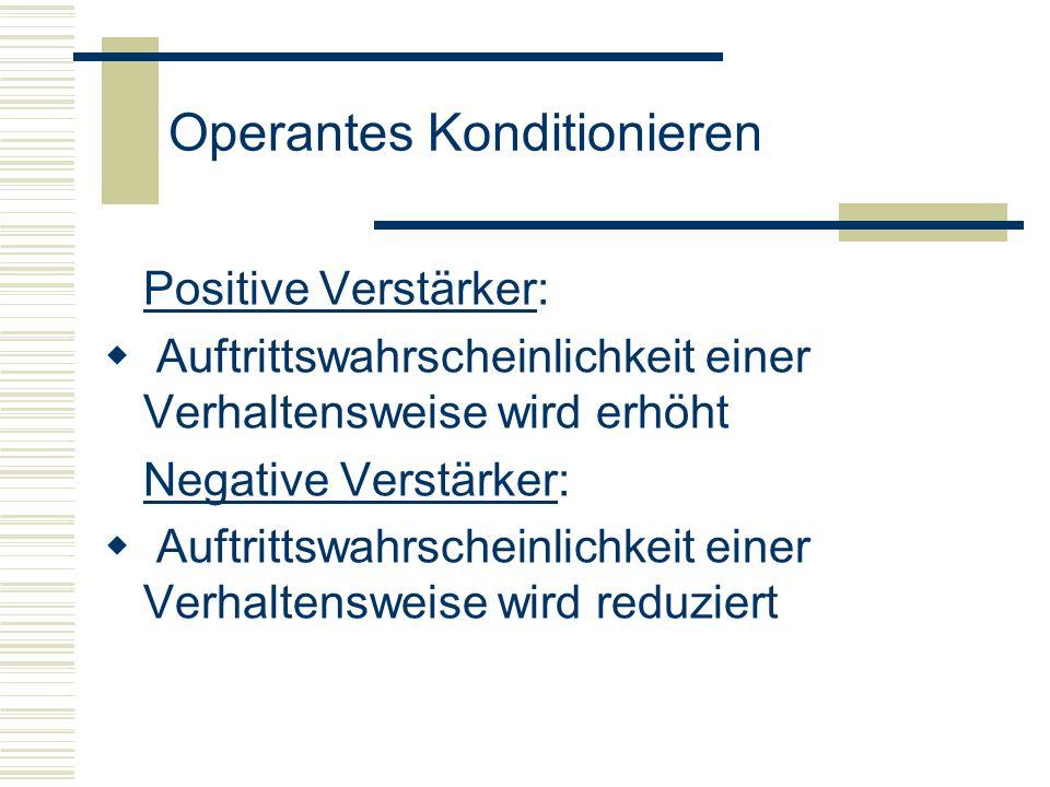 Operantes Konditionieren Positive Verstärker: Auftrittswahrscheinlichkeit einer Verhaltensweise wird erhöht Negative Verstärker: Auftrittswahrscheinli