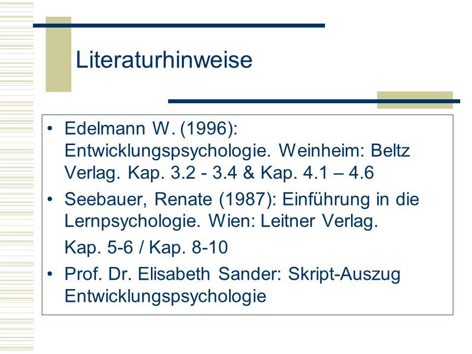 Literaturhinweise Edelmann W. (1996): Entwicklungspsychologie. Weinheim: Beltz Verlag. Kap. 3.2 - 3.4 & Kap. 4.1 – 4.6 Seebauer, Renate (1987): Einfüh