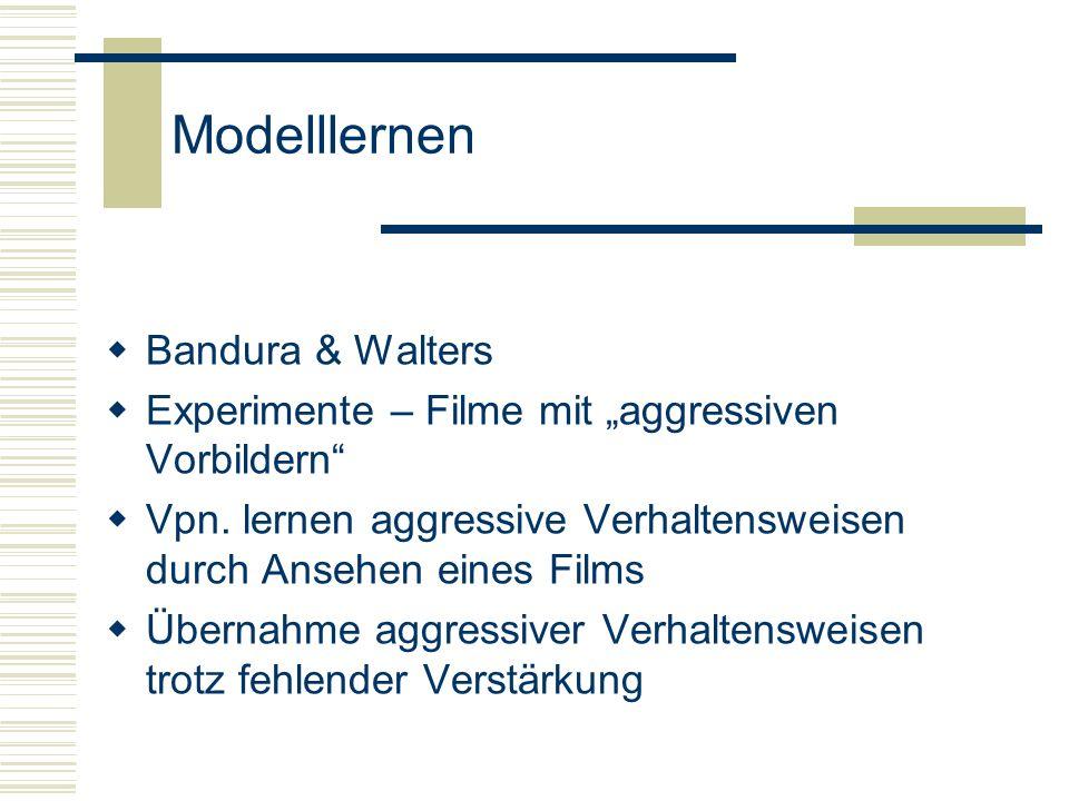 Modelllernen Findet statt wenn: Ein Beobachter das Verhalten eines Modells beobachtet und sich dabei Verhaltensweisen aneignet Oder bereits vorhandene Verhaltensweisen verändert