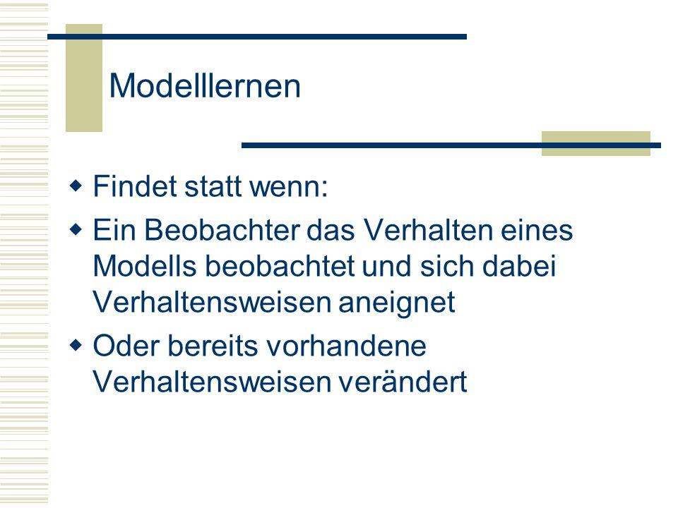 Modelllernen Modelllernen ab Ende 1.