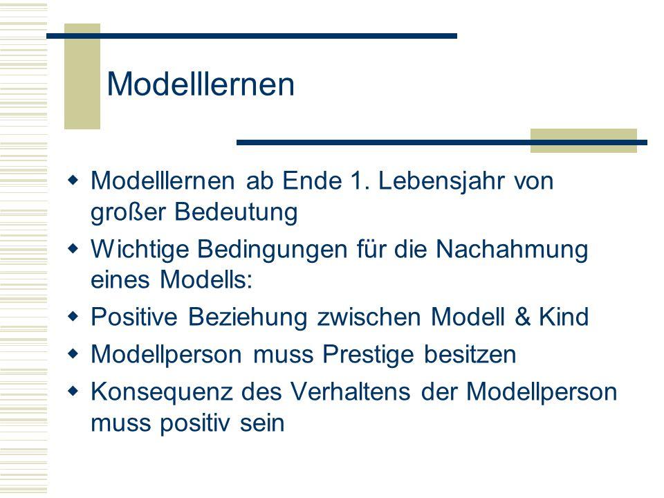 Modelllernen Modelllernen ab Ende 1. Lebensjahr von großer Bedeutung Wichtige Bedingungen für die Nachahmung eines Modells: Positive Beziehung zwische