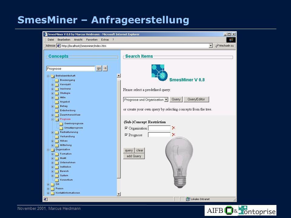 November 2001, Marcus Heidmann AIFB & SmesMiner – Anfrageerstellung