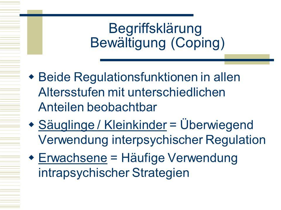 Begriffsklärung Bewältigung (Coping) Beide Regulationsfunktionen in allen Altersstufen mit unterschiedlichen Anteilen beobachtbar Säuglinge / Kleinkin