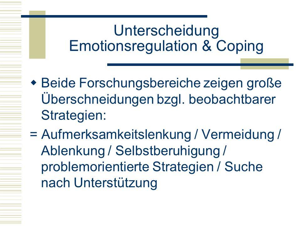 Unterscheidung Emotionsregulation & Coping Beide Forschungsbereiche zeigen große Überschneidungen bzgl. beobachtbarer Strategien: = Aufmerksamkeitslen