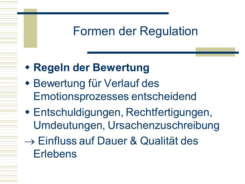 Formen der Regulation Regeln der Bewertung Bewertung für Verlauf des Emotionsprozesses entscheidend Entschuldigungen, Rechtfertigungen, Umdeutungen, U