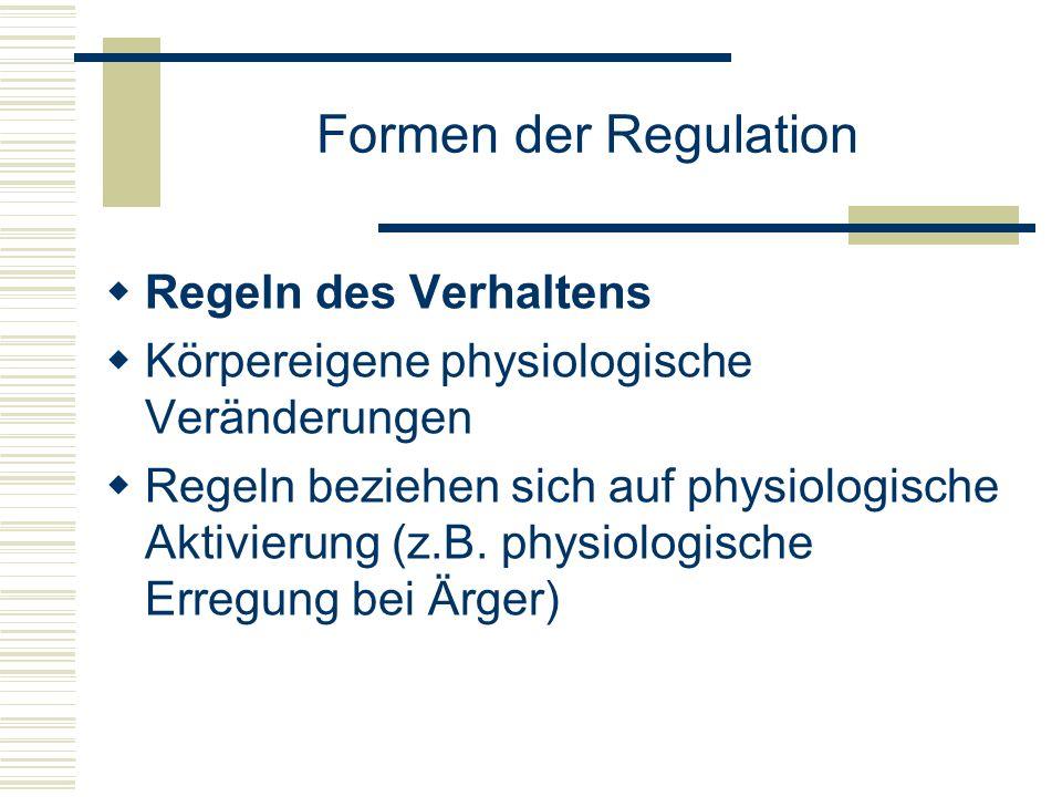 Formen der Regulation Regeln des Verhaltens Körpereigene physiologische Veränderungen Regeln beziehen sich auf physiologische Aktivierung (z.B. physio