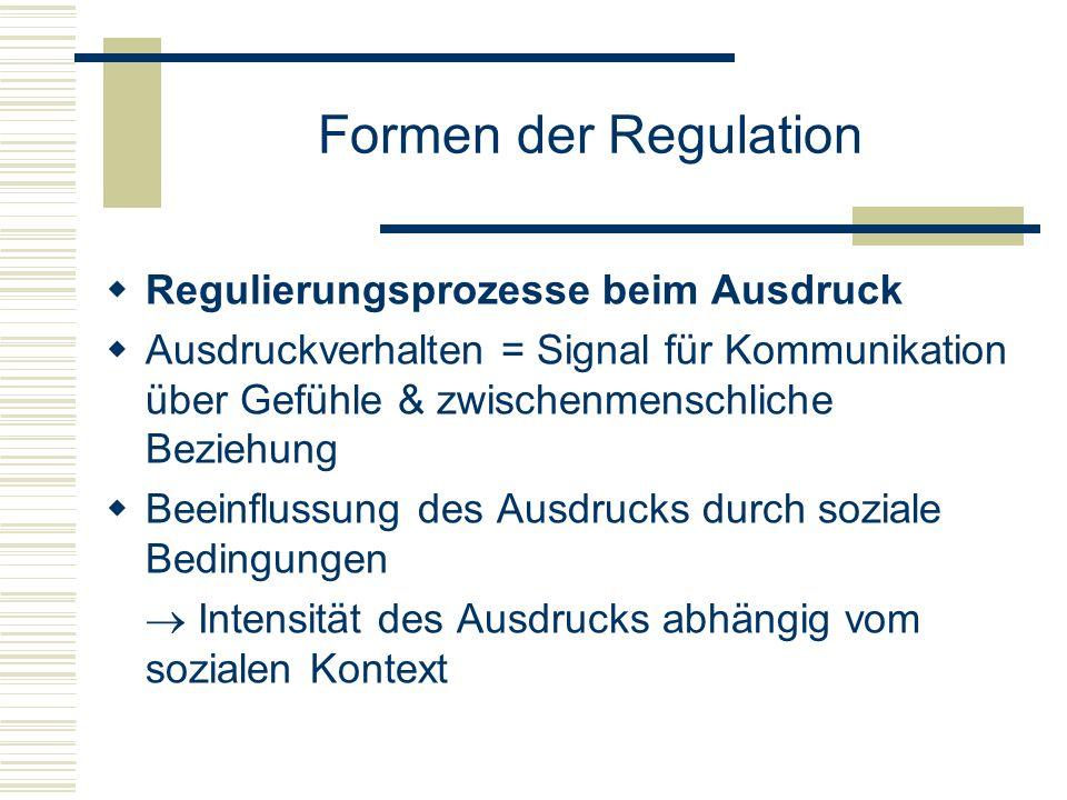 Formen der Regulation Regulierungsprozesse beim Ausdruck Ausdruckverhalten = Signal für Kommunikation über Gefühle & zwischenmenschliche Beziehung Bee