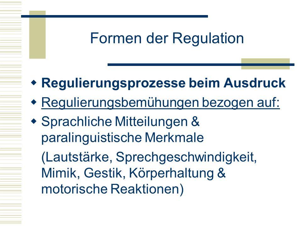 Formen der Regulation Regulierungsprozesse beim Ausdruck Regulierungsbemühungen bezogen auf: Sprachliche Mitteilungen & paralinguistische Merkmale (La