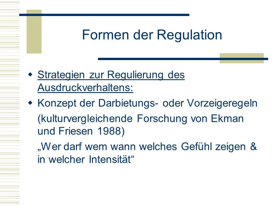 Formen der Regulation Strategien zur Regulierung des Ausdruckverhaltens: Konzept der Darbietungs- oder Vorzeigeregeln (kulturvergleichende Forschung v