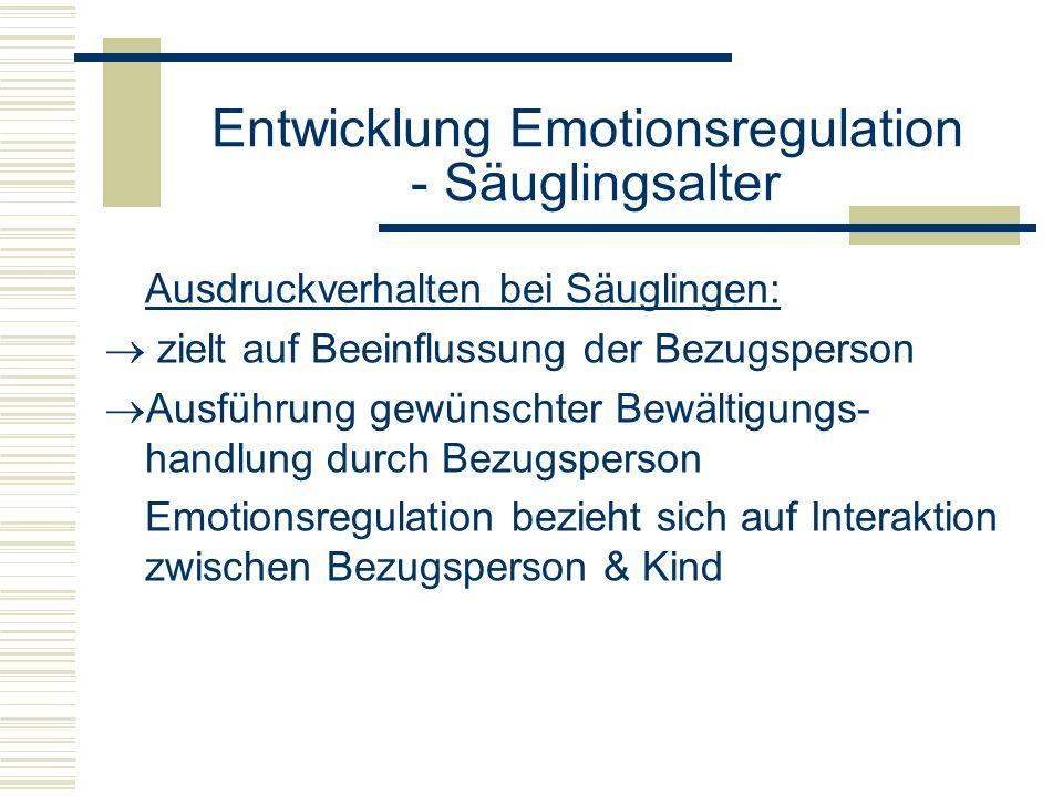 Entwicklung Emotionsregulation - Säuglingsalter Ausdruckverhalten bei Säuglingen: zielt auf Beeinflussung der Bezugsperson Ausführung gewünschter Bewä