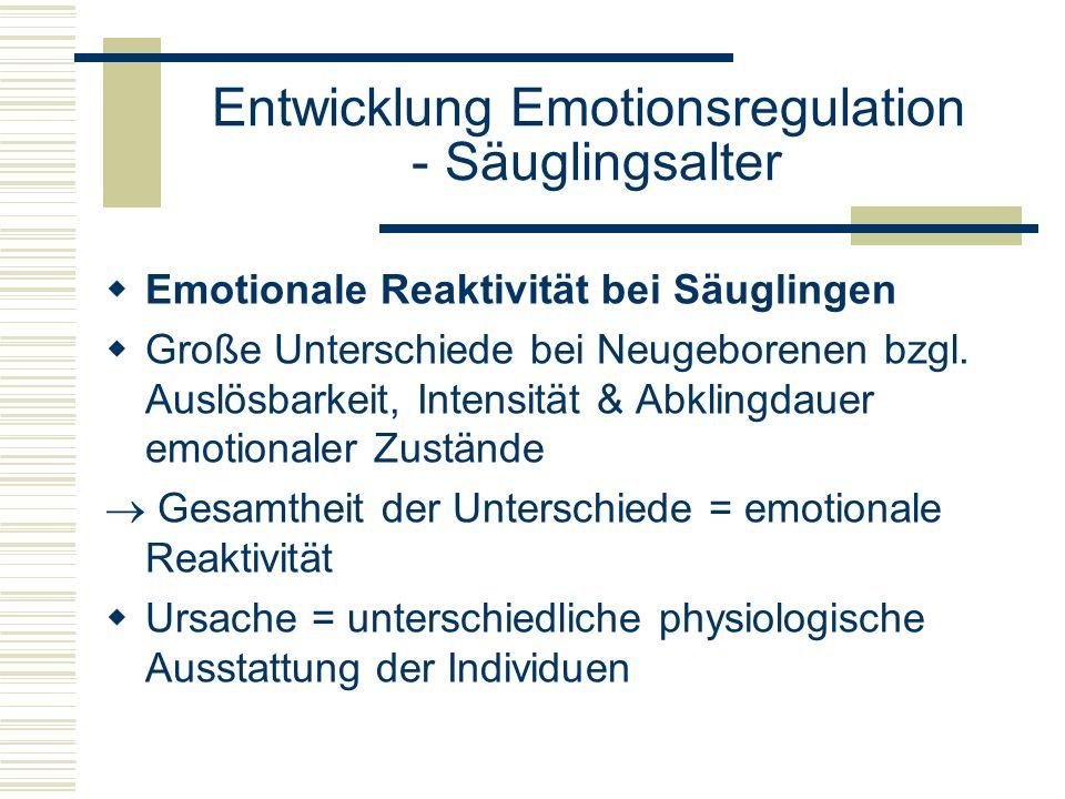 Entwicklung Emotionsregulation - Säuglingsalter Emotionale Reaktivität bei Säuglingen Große Unterschiede bei Neugeborenen bzgl. Auslösbarkeit, Intensi