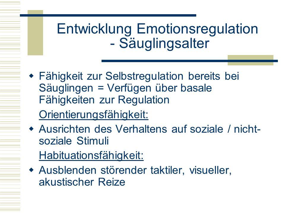 Entwicklung Emotionsregulation - Säuglingsalter Fähigkeit zur Selbstregulation bereits bei Säuglingen = Verfügen über basale Fähigkeiten zur Regulatio