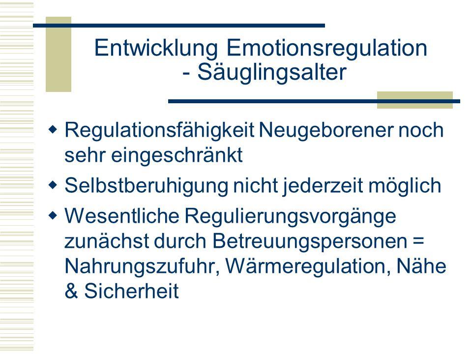 Entwicklung Emotionsregulation - Säuglingsalter Regulationsfähigkeit Neugeborener noch sehr eingeschränkt Selbstberuhigung nicht jederzeit möglich Wes