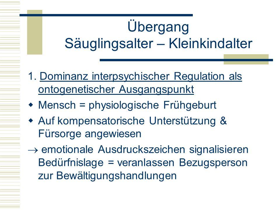 1. Dominanz interpsychischer Regulation als ontogenetischer Ausgangspunkt Mensch = physiologische Frühgeburt Auf kompensatorische Unterstützung & Fürs