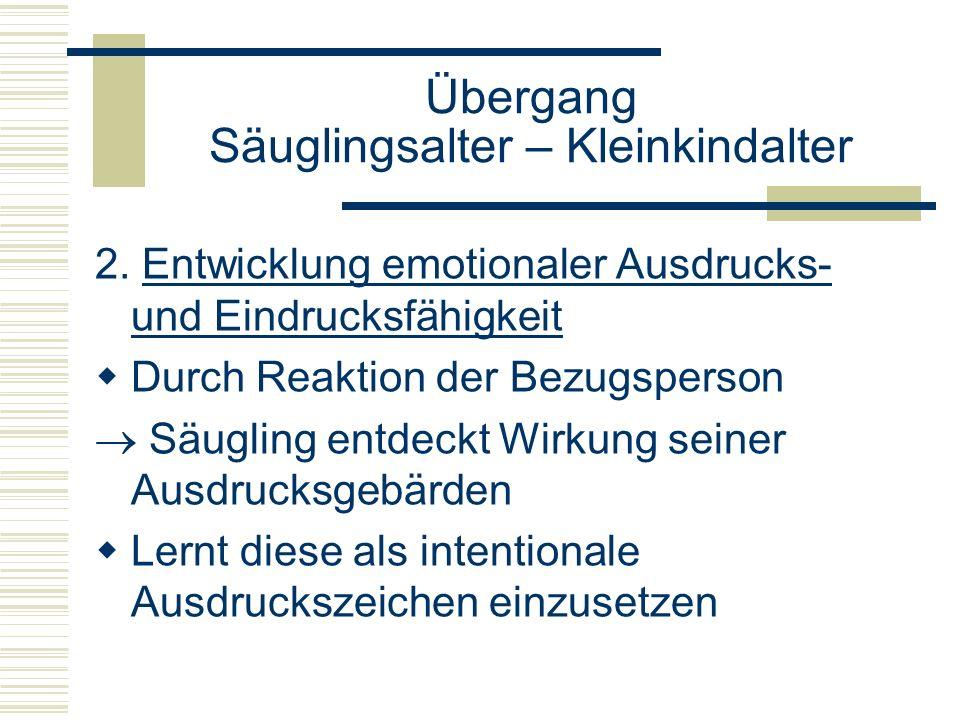 2. Entwicklung emotionaler Ausdrucks- und Eindrucksfähigkeit Durch Reaktion der Bezugsperson Säugling entdeckt Wirkung seiner Ausdrucksgebärden Lernt