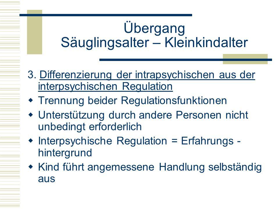 Übergang Säuglingsalter – Kleinkindalter 3. Differenzierung der intrapsychischen aus der interpsychischen Regulation Trennung beider Regulationsfunkti
