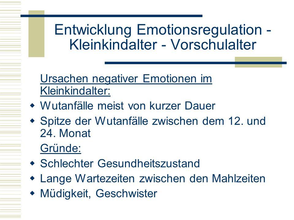 Entwicklung Emotionsregulation - Kleinkindalter - Vorschulalter Ursachen negativer Emotionen im Kleinkindalter: Wutanfälle meist von kurzer Dauer Spit